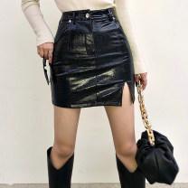 skirt Summer 2021 S,M,L black Short skirt street High waist skirt Solid color Type A 51% (inclusive) - 70% (inclusive) PU Split asymmetric buttocks Europe and America