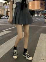skirt Summer of 2019 S,M,L,XL,2XL Gray, black Short skirt commute High waist Pleated skirt Solid color Type A 18-24 years old 31% (inclusive) - 50% (inclusive) Other / other fold Korean version