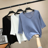 Women's large Summer of 2019, spring of 2019 Black, white, blue XL (about 90-125 kg recommended), 2XL (about 125-150 kg recommended), 3XL (about 150-175 kg recommended), 4XL (about 175-200 kg recommended) T-shirt singleton  commute easy thin Socket elbow sleeve Solid color Korean version V-neck