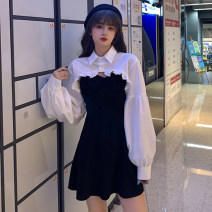 Women's large Autumn 2020 White shirt, suspender skirt M (recommended 80-100 kg), l (recommended 100-120 kg), XL (recommended 120-140 kg), 2XL (recommended 140-160 kg), 3XL (recommended 160-180 kg), 4XL (recommended 180-200 kg) shirt Two piece set commute moderate Socket Long sleeves Korean version