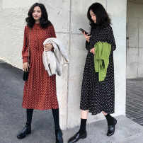 Women's large Autumn of 2018 Apricot, black, red L [100-120 Jin recommended], XL [120-140 Jin recommended], 2XL [140-160 Jin recommended], 3XL [160-180 Jin recommended], 4XL [180-200 Jin recommended] Dress singleton  commute Self cultivation moderate Socket Long sleeves Dot Retro stand collar fold