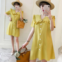 Women's large Summer of 2019 yellow L [100-120 Jin recommended], XL [120-140 Jin recommended], 2XL [140-160 Jin recommended], 3XL [160-180 Jin recommended], 4XL [180-200 Jin recommended] Dress singleton  Sweet easy moderate Cardigan Short sleeve Solid color Lotus leaf collar Polyester, cotton Button