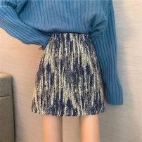 skirt Winter 2020 S [recommended 75-85 kg], m [recommended 85-100 kg], l [recommended 100-120 kg], XL [recommended 120-140 kg], 2XL [recommended 140-160 kg], 3XL [recommended 160-180 kg], 4XL [recommended 180-200 kg] Black, blue Short skirt commute A-line skirt 18-24 years old Korean version