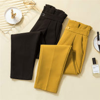 Women's large Winter of 2019, autumn of 2019 Black, yellow trousers singleton  commute moderate Korean version Other / other trousers