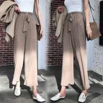 Casual pants Black, khaki, apricot S,M,L,XL,2XL,3XL,4XL Summer of 2019 Ninth pants Wide leg pants High waist Versatile Thin money 18-24 years old