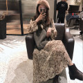 Women's large Winter of 2019, autumn of 2019 Apricot skirt + grey vest, one-piece dress, one-piece vest M (90-105 kg recommended), l (105-125 kg recommended), XL (125-135 kg recommended), 2XL (135-150 kg recommended), 3XL (150-170 kg recommended), 4XL (170-200 kg recommended) Dress Two piece set easy