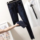 Women's large Spring of 2019 blue L [100-120 Jin recommended], XL [120-140 Jin recommended], 2XL [140-160 Jin recommended], 3XL [160-180 Jin recommended], 4XL [180-200 Jin recommended] trousers singleton  commute moderate Korean version Denim printing and dyeing pocket Ninth pants