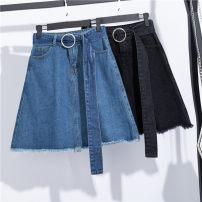 Women's large Summer of 2019 Blue, black XL [suggested 110-130 kg], 2XL [suggested 130-150 kg], 3XL [suggested 150-175 kg], 4XL [suggested 170-190 kg], 5XL [suggested 190-210 kg] skirt singleton  commute easy moderate Solid color Korean version Denim Make old 25-29 years old belt Short skirt