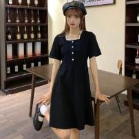 Dress Summer 2021 black M [recommended 80-100 Jin], l [recommended 100-120 Jin], XL [120-140 Jin], 2XL [140-160 Jin recommended], 3XL [160-180 Jin recommended], 4XL [180-200 Jin recommended] Middle-skirt singleton  Short sleeve square neck Loose waist Solid color Socket A-line skirt routine Type A