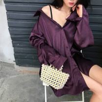 shirt S, M Spring of 2019 polyester fiber 96% and above Long sleeves Versatile Solid color Other / other