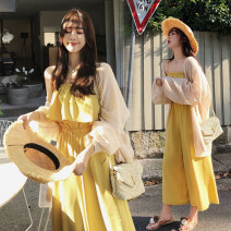 Women's large Summer of 2019, spring of 2019 Black, yellow L [100-120 Jin recommended], XL [120-140 Jin recommended], 2XL [140-160 Jin recommended], 3XL [160-180 Jin recommended], 4XL [180-200 Jin recommended] trousers singleton  commute easy moderate Conjoined Sleeveless Solid color Korean version