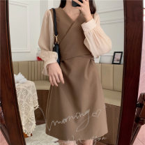 Women's large Spring 2021 Black, khaki M [recommended 80-100 Jin], l [recommended 100-120 Jin], XL [120-140 Jin], 2XL [140-160 Jin recommended], 3XL [160-180 Jin recommended], 4XL [180-200 Jin recommended] Dress singleton  commute Self cultivation moderate Socket Long sleeves Solid color V-neck
