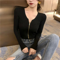 Women's large Autumn of 2019 White, black XL [90-120 Jin], 2XL [120-145 Jin], 3XL [145-170 Jin], 4XL [170-200 Jin] Knitwear / cardigan singleton  commute Self cultivation Cardigan Long sleeves Solid color Korean version V-neck routine Other / other 25-29 years old 31% (inclusive) - 50% (inclusive)