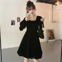 Dress Winter 2020 Picture color L [95-120 Jin], XL [120-140 Jin], 2XL [140-160 Jin], 3XL [160-180 Jin], 4XL [180-200 Jin] Mid length dress singleton  Long sleeves commute square neck High waist Solid color A-line skirt puff sleeve Others 25-29 years old Type A Retro 51% (inclusive) - 70% (inclusive)