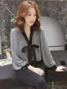 Women's large Autumn of 2019 Picture color shirt singleton  commute Self cultivation moderate Socket Long sleeves Solid color Korean version V-neck routine polyester Three dimensional cutting routine 25-29 years old Three dimensional decoration Medium length bow