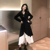 Dress Autumn of 2019 Two sets of pictures M,L,XL,2XL,3XL,4XL longuette Two piece set Long sleeves commute V-neck High waist Solid color Socket A-line skirt routine camisole Type A Retro