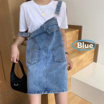 Dress Summer 2020 Blue, purple S,XS,L,M Short skirt singleton  commute Socket straps 18-24 years old Type H Other / other Korean version 0621-7 Denim