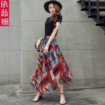Dress Summer 2020 Red flower purple flower S M L XL Mid length dress Two piece set Short sleeve commute Crew neck middle-waisted Decor Socket A-line skirt routine Others 25-29 years old Type A Yi Lanshan Korean version Lace up button print YLS20A3371 More than 95% Denim other Other 100%