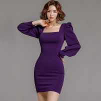 Dress Spring 2020 violet S,M,L,XL Short skirt singleton  Long sleeves commute square neck High waist Solid color zipper Pencil skirt Others 18-24 years old Korean version
