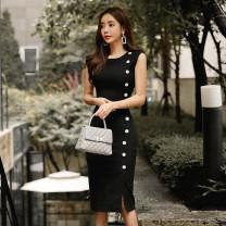 Dress Summer of 2019 black S,M,L,XL singleton  Sleeveless commute Crew neck High waist Solid color zipper Pencil skirt Others 18-24 years old Korean version Button, zipper