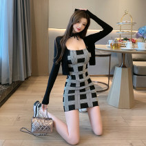 Dress Winter 2020 Pink cardigan black cardigan pink skirt black skirt pink two piece set black two piece set S M L Short skirt Two piece set Long sleeves commute One word collar High waist lattice Socket One pace skirt routine camisole 25-29 years old Type X Ounynyca / oneica Korean version Splicing