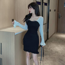 Dress Spring 2021 Blue black S M L Short skirt singleton  Long sleeves commute square neck High waist other Socket Pencil skirt routine Breast wrapping 25-29 years old Type X Ounynyca / oneica Korean version Splicing Ao1087g More than 95% knitting polyester fiber Polyester 100%