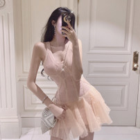 Dress Spring 2020 Nude Pink S M L XL Short skirt singleton  Sleeveless commute V-neck High waist Solid color zipper Ruffle Skirt routine camisole 25-29 years old Type A Ounynyca / oneica Korean version Pleated zipper Aoy315 More than 95% other polyester fiber Polyester 100%