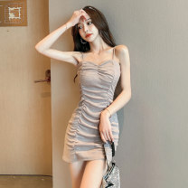 Dress Summer 2020 khaki S M L Short skirt singleton  Sleeveless commute One word collar High waist Solid color Socket One pace skirt other camisole 25-29 years old Type X Ounynyca / oneica Korean version Open back fold splicing Aos3868 More than 95% polyester fiber Polyester 100%