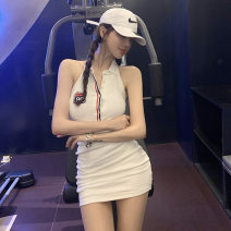 Dress Summer 2020 White gray dark blue S M L Short skirt singleton  Sleeveless commute Polo collar High waist other Single breasted One pace skirt other Hanging neck style 25-29 years old Type X Ounynyca / oneica Korean version Embroidered stitching button Aos3960 More than 95% brocade Polyester 100%