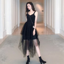 Dress Summer 2020 Black suspender skirt jacket S M L XL longuette singleton  Sleeveless commute V-neck High waist Solid color Socket A-line skirt other camisole 18-24 years old Type A Ounynyca / oneica Retro Stitched asymmetric mesh zipper Olympic y355-d More than 95% other polyester fiber