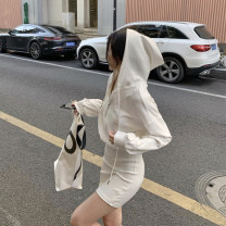 Dress Autumn 2020 white S M L Short skirt singleton  Long sleeves commute Hood High waist Solid color Single breasted One pace skirt routine Breast wrapping 25-29 years old Type X Ounynyca / oneica Korean version zipper More than 95% brocade polyester fiber Polyester 100%