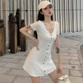 Dress Summer 2020 White black S M L Short skirt singleton  Short sleeve commute V-neck High waist Solid color Single breasted A-line skirt routine Breast wrapping 18-24 years old Type A Ounynyca / oneica Korean version Button Aos3840 More than 95% knitting polyester fiber Polyester 100%