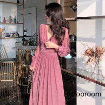 Square Dance Dress S,M,L,XL,2XL Black, red, pink other Long sleeves Solid color longuette female