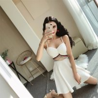 Dress Summer of 2018 White, red, black S,M,L Middle-skirt singleton  Sleeveless middle-waisted Solid color Socket A-line skirt camisole