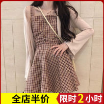 Women's large Autumn 2020 Dress Three piece set Sweet easy thick Cardigan Short sleeve lattice High collar routine Three dimensional cutting puff sleeve 4-26X3451-A Zijing 18-24 years old Bandage longuette Other polyester 95% 5% Pure e-commerce (online only) Irregular skirt straps Three buttons