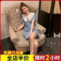 Women's large Korean version routine Summer 2021 commute singleton  Middle-skirt Dress 5-15CS0549 Short sleeve Broken flower moderate Condom other easy 18-24 years old Zijing Cotton 100% Pure e-commerce (online sales only) S M L XL 2XL 3XL 4XL blue