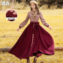 Dress Winter of 2019 Red and blue S M L longuette singleton  Long sleeves commute Crew neck High waist lattice Single breasted Big swing bishop sleeve Others 25-29 years old Type X Broadcast joy Retro Lace up button with ruffle 51% (inclusive) - 70% (inclusive) Wool polyester fiber