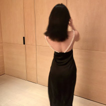 Dress Summer 2021 black S,M,L Middle-skirt singleton  Sleeveless commute High waist Solid color Socket A-line skirt camisole Type H GYOKUU Britain Pearl LY19150 More than 95% polyester fiber