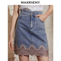 skirt Spring 2021 01/S 02/M 03/L Light denim Short skirt commute High waist A-line skirt Solid color Type A 25-29 years old MC8311450032SK0 More than 95% Denim MaxRieny cotton pocket Retro Cotton 100% Same model in shopping mall (sold online and offline)