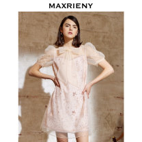 Dress Summer 2021 Apricot yellow S/01 M/02 L/03 Mid length dress Short sleeve Half open collar 25-29 years old MaxRieny MS8320160041DR0 More than 95% polyester fiber Polyester 100%