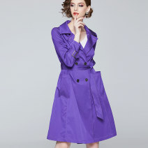 Windbreaker Autumn of 2019 S/155 M/160 L/165 XL/170 XXL/175 violet Long sleeves routine Medium length commute double-breasted tailored collar routine Solid color Self cultivation Ol style Fragrant clothes cabinet X93F1042 30-34 years old Open line decorative pocket lace up button polyester fiber