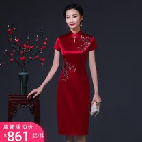 cheongsam Spring 2021 M L XL XXL 3XL 4XL 7 / 3 short sleeves Long sleeves Short cheongsam Retro Low slit wedding Straight front Solid color Over 35 years old Piping LY00986 LANYUEXINGCHEN other Triacetate 70% new polyester 30% Pure e-commerce (online only)