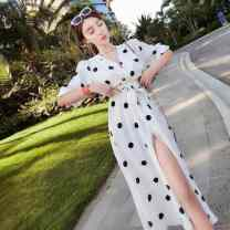 Dress Summer 2020 White dots, black dots S,M,L Miniskirt singleton  Short sleeve commute V-neck High waist Dot Socket Big swing 18-24 years old Type H Ezrin Korean version 9jBso