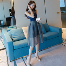 Dress Summer 2017 blue S M L Mid length dress singleton  Sleeveless commute Crew neck High waist Solid color zipper A-line skirt routine Others 25-29 years old Type A NIAT Korean version Three dimensional decorative mesh zipper with hollow stitching N1306 More than 95% other polyester fiber