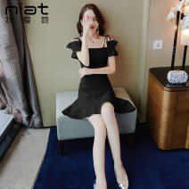 Dress Summer 2020 Black and white S M L XL Short skirt singleton  Sleeveless commute One word collar High waist Solid color zipper A-line skirt other camisole 25-29 years old Type A NIAT lady Open back stitching with ruffle and asymmetric strap zipper 3237A 91% (inclusive) - 95% (inclusive)