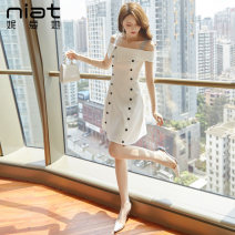 Dress Summer of 2019 Blue yellow white black S M L Short skirt singleton  Sleeveless commute One word collar High waist Solid color zipper A-line skirt routine camisole 25-29 years old Type A NIAT lady Resin fixation of stitched zipper 5332A 91% (inclusive) - 95% (inclusive) polyester fiber