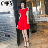 Dress Summer of 2019 gules XS S M L Short skirt singleton  Short sleeve commute Crew neck High waist Solid color zipper A-line skirt routine Others 25-29 years old Type A NIAT lady Stitching button zipper resin fixation More than 95% polyester fiber Polyester 100% Pure e-commerce (online only)