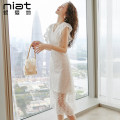 Dress Summer 2020 S M L XL Mid length dress singleton  Sleeveless commute V-neck High waist Solid color zipper other Lotus leaf sleeve Others 25-29 years old NIAT lady 91% (inclusive) - 95% (inclusive) polyester fiber Polyester 92.1% polyurethane elastic fiber (spandex) 7.9%