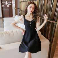 Dress Summer 2020 black S M L Short skirt singleton  elbow sleeve commute V-neck High waist Solid color zipper A-line skirt puff sleeve Others 25-29 years old Type A NIAT Korean version Resin fixation of stitched zipper More than 95% polyester fiber Polyester 100% Pure e-commerce (online only)