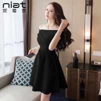 Dress Summer 2020 White black S M L XL Short skirt singleton  Short sleeve commute One word collar High waist Solid color zipper A-line skirt other Oblique shoulder 25-29 years old Type A NIAT lady Asymmetrical zipper with open back and ruffle 3038A 91% (inclusive) - 95% (inclusive) polyester fiber
